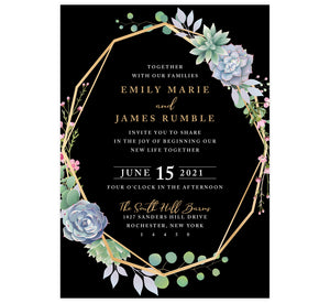 Succulent Frame Wedding Invitation; black background with gold frame, succulent son the top right and bottom left edges of the frame. White and gold text for the information