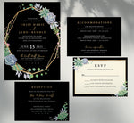 Load image into Gallery viewer, Succulent Frame Wedding Invitation and Set Mockup