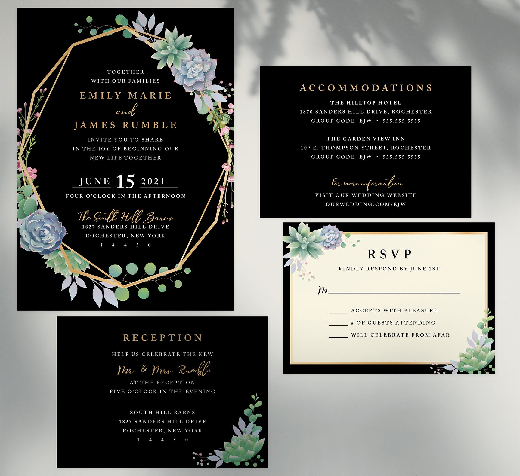 Succulent Frame Wedding Invitation and Set Mockup