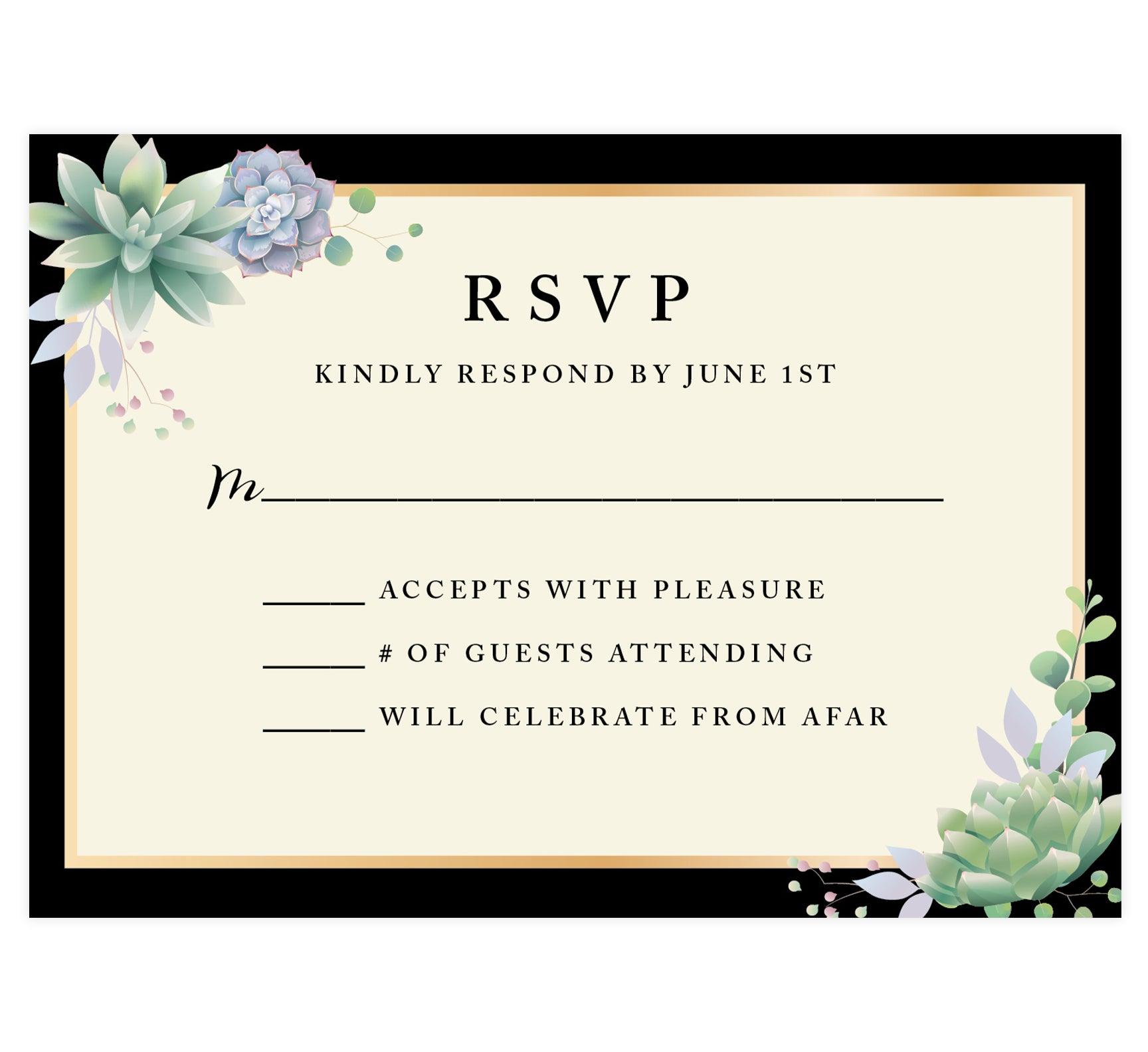 Succulent Frame Wedding Response Card; RSVP Card with black and cream background, gold frame, black text and succulents in the top left and bottom right hand corner
