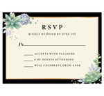 Load image into Gallery viewer, Succulent Frame Wedding Response Card; RSVP Card with black and cream background, gold frame, black text and succulents in the top left and bottom right hand corner