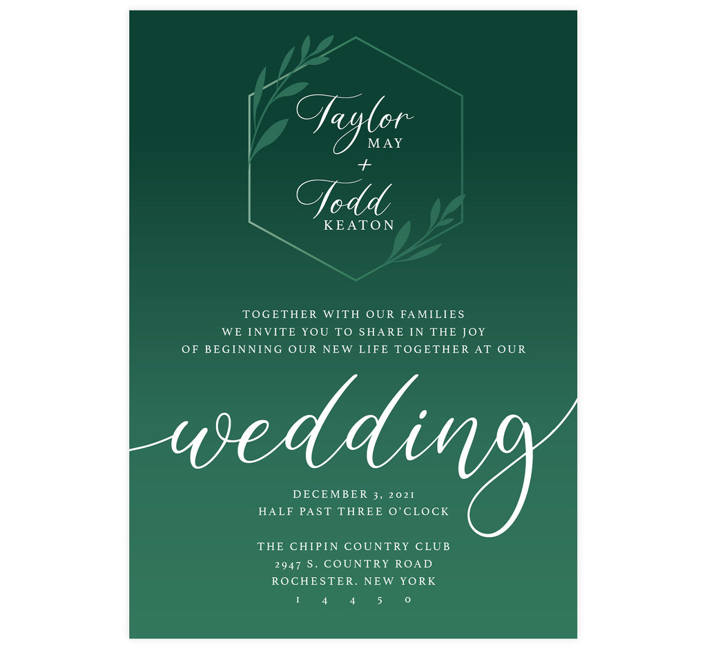 Emerald Green Wedding invitation; white text with dark emerald green background and lighter green geometric shape and leaves