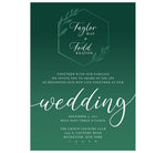 Load image into Gallery viewer, Emerald Green Wedding invitation; white text with dark emerald green background and lighter green geometric shape and leaves