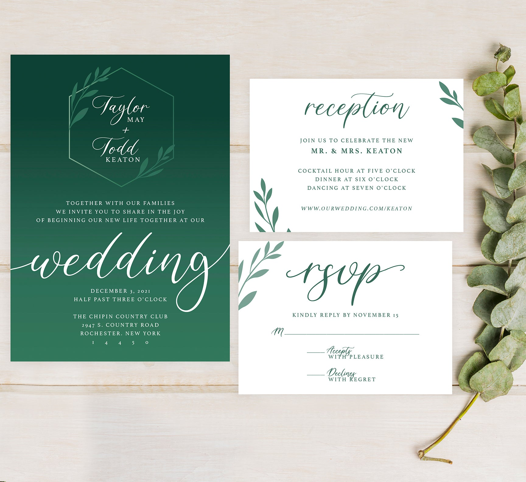 Emerald Greenery wedding set mockup