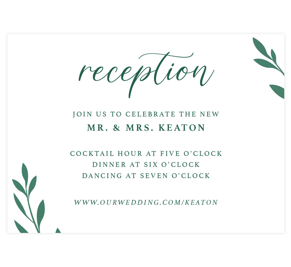 Emerald Greenery wedding reception card; white background with green text and green leaves in the corners