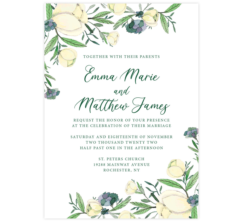 Romantic White Rose wedding invitation card; white background with white rose florals in the corners and green text.