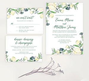 Romantic White Rose Wedding set mockup.