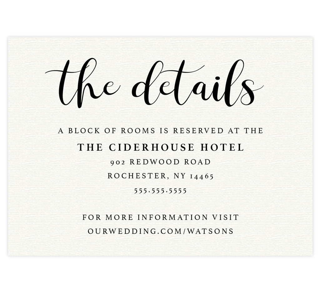 Bright and Beautiful wedding accommodations/detail card; cream paper textured background with black text.