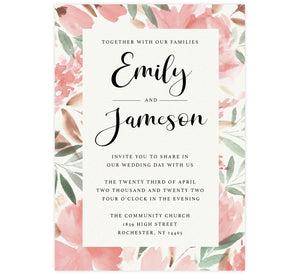 Bright and Beautiful wedding invitation; textured paper background with large watercolor pink floral frame and black text