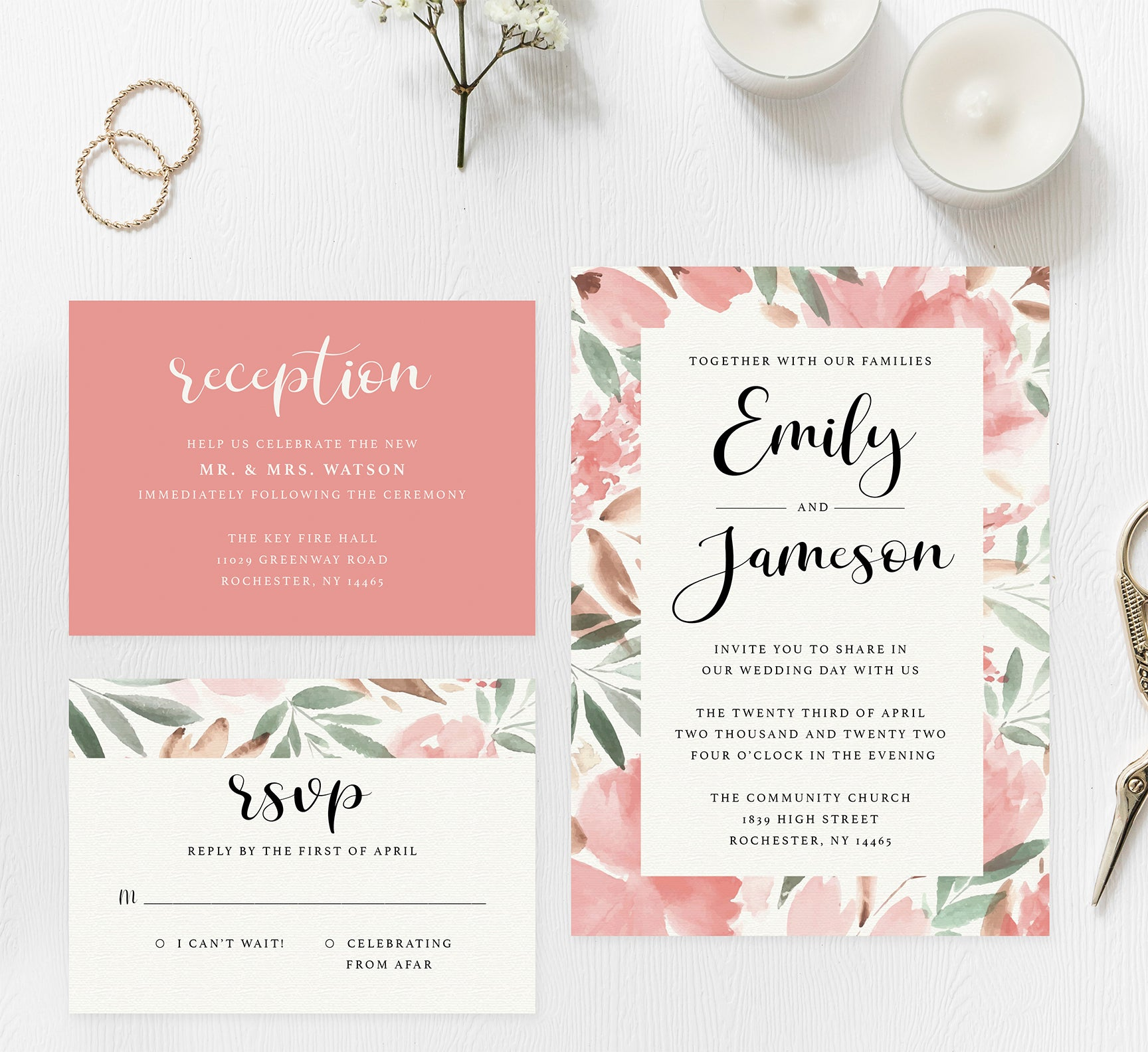 Bright and beautiful wedding set mockup