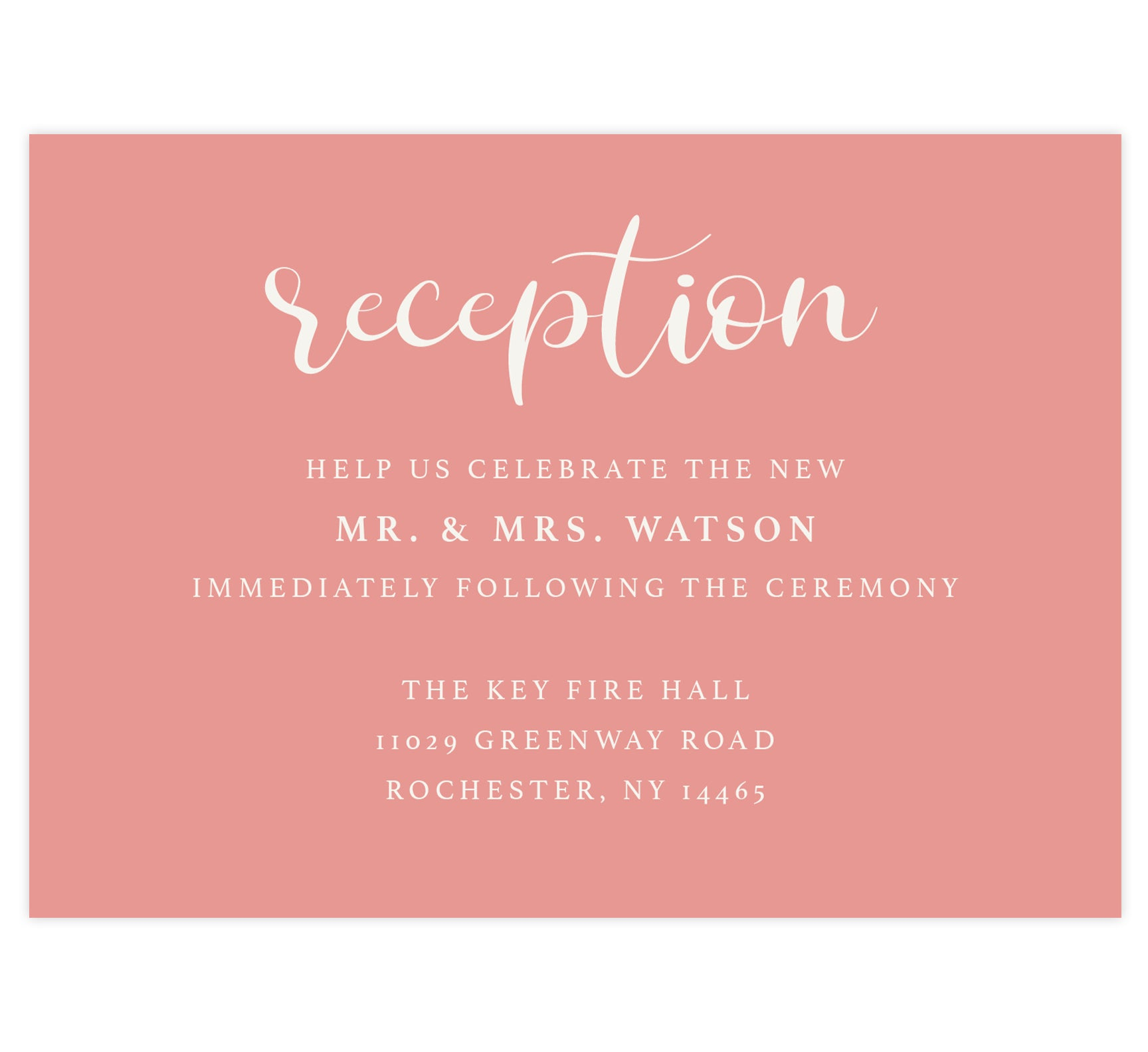 Bright and Beautiful wedding reception card; pink background with white text