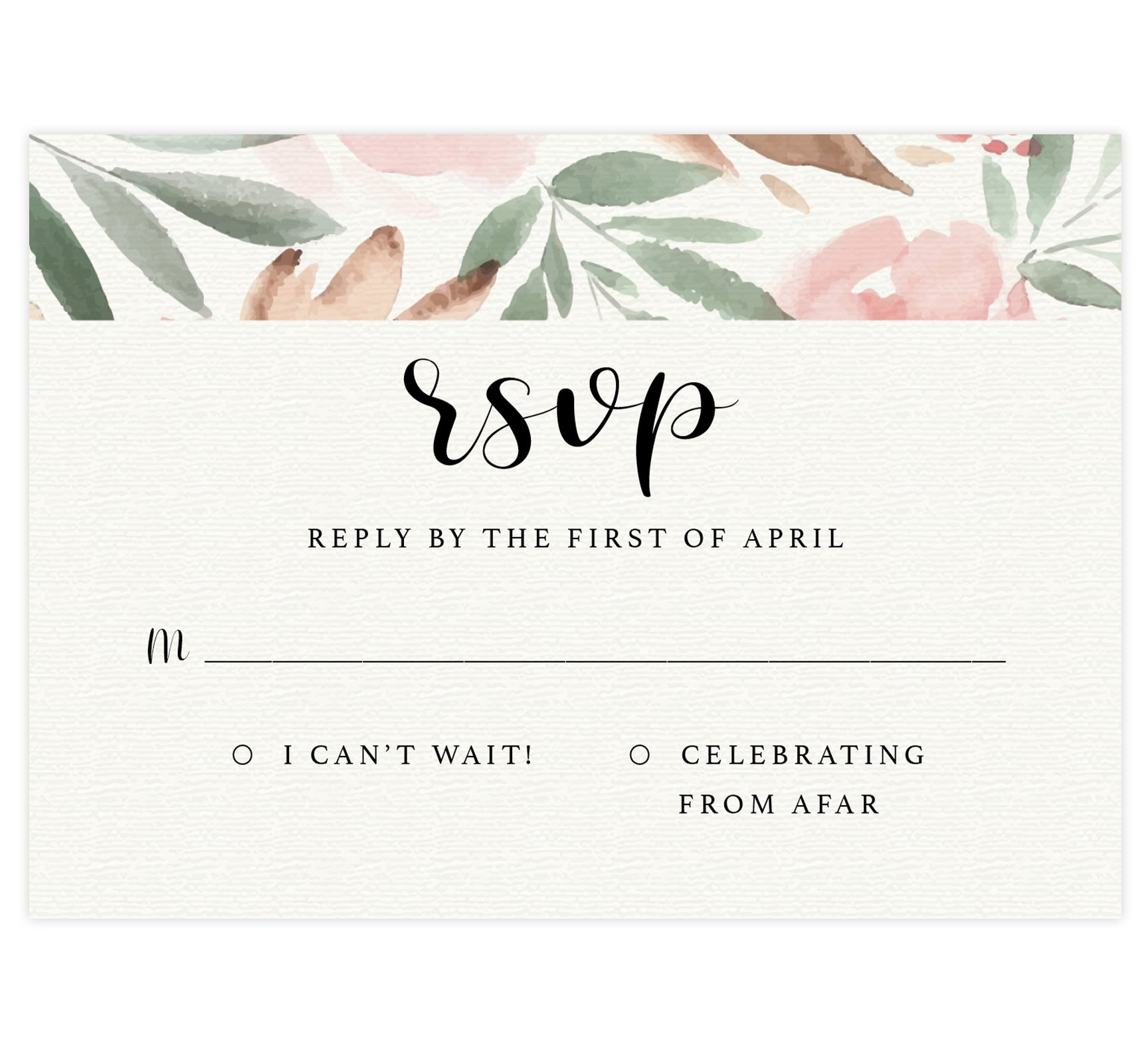 Bright and beautiful wedding response card; textured background with pink watercolor florals on the top edge and black text