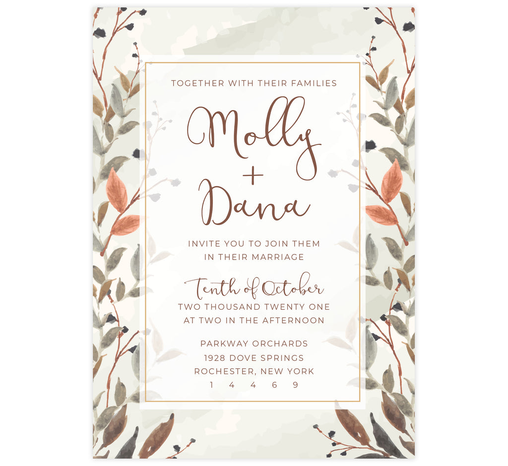 Fantasy Love wedding invitation card; watercolor neutral colored background with brown text