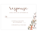 Load image into Gallery viewer, Fantasy Love wedding response card; white background with watercolor leaves in bottom right corner and brown text