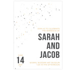 Load image into Gallery viewer, Modern Bold wedding invitation card; white background with gold yellow and gray dots and bold text on the bottom right corner