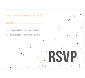 Modern Bold wedding response card; white background with gold and gray dots and gold and gray text