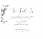 Load image into Gallery viewer, Hand Drawn Frame Details/Accommodations Wedding Card; white background with black hand drawn leaves elements and gold divider
