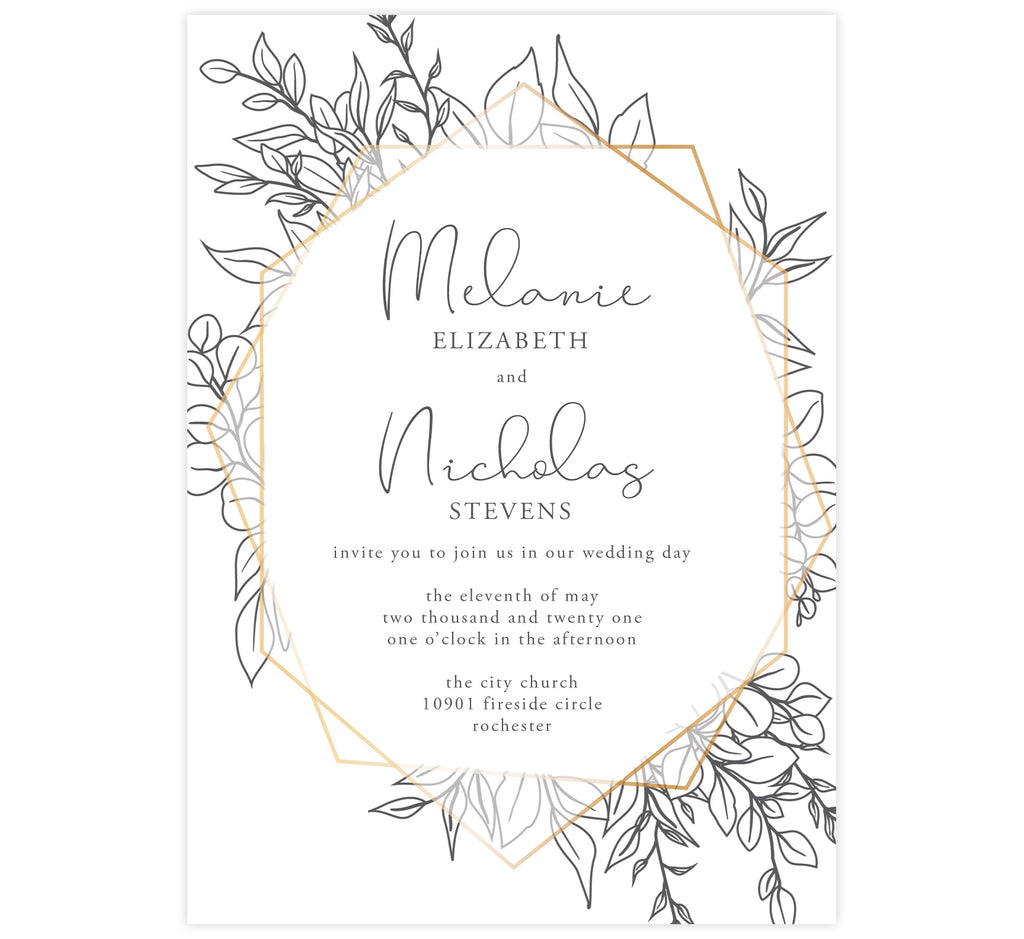 Hand Drawn Frame Wedding Invitation; white background with gold geometric frame and black hand drawn greenery around the frame