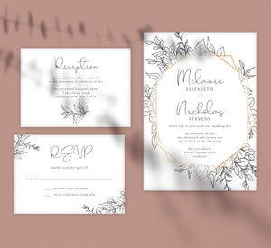 Hand Drawn Frame Wedding Set Mockup