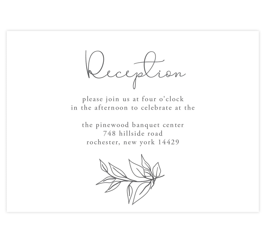 Hand Drawn Frame wedding reception card; white background with black hand drawn greenery