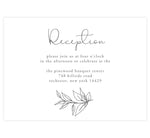 Load image into Gallery viewer, Hand Drawn Frame wedding reception card; white background with black hand drawn greenery