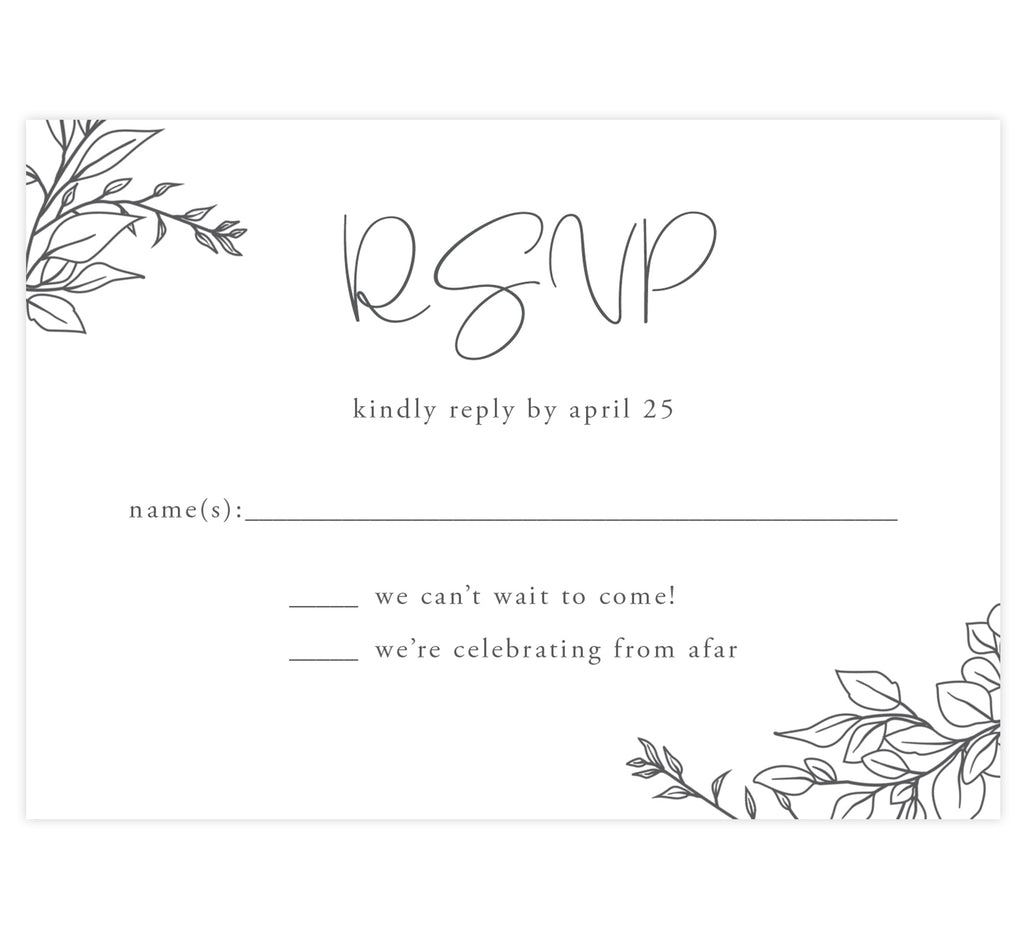 Hand Drawn Frame Wedding Response Card; White background with black hand drawn greenery in the corners