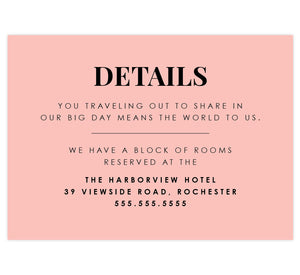 Watercolor Wreath Wedding Accommodations/Details Card; Pink background with black text overtop