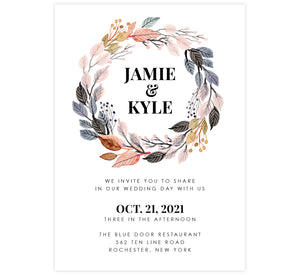 Watercolor Wreath Wedding Invitation; White background with black text and color watercolor frame