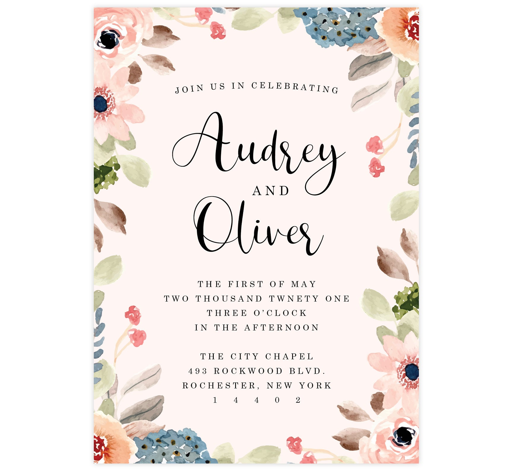 Pink Watercolor Wedding Invitation; Pink background with watercolor frame and black text