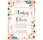 Load image into Gallery viewer, Pink Watercolor Wedding Invitation; Pink background with watercolor frame and black text