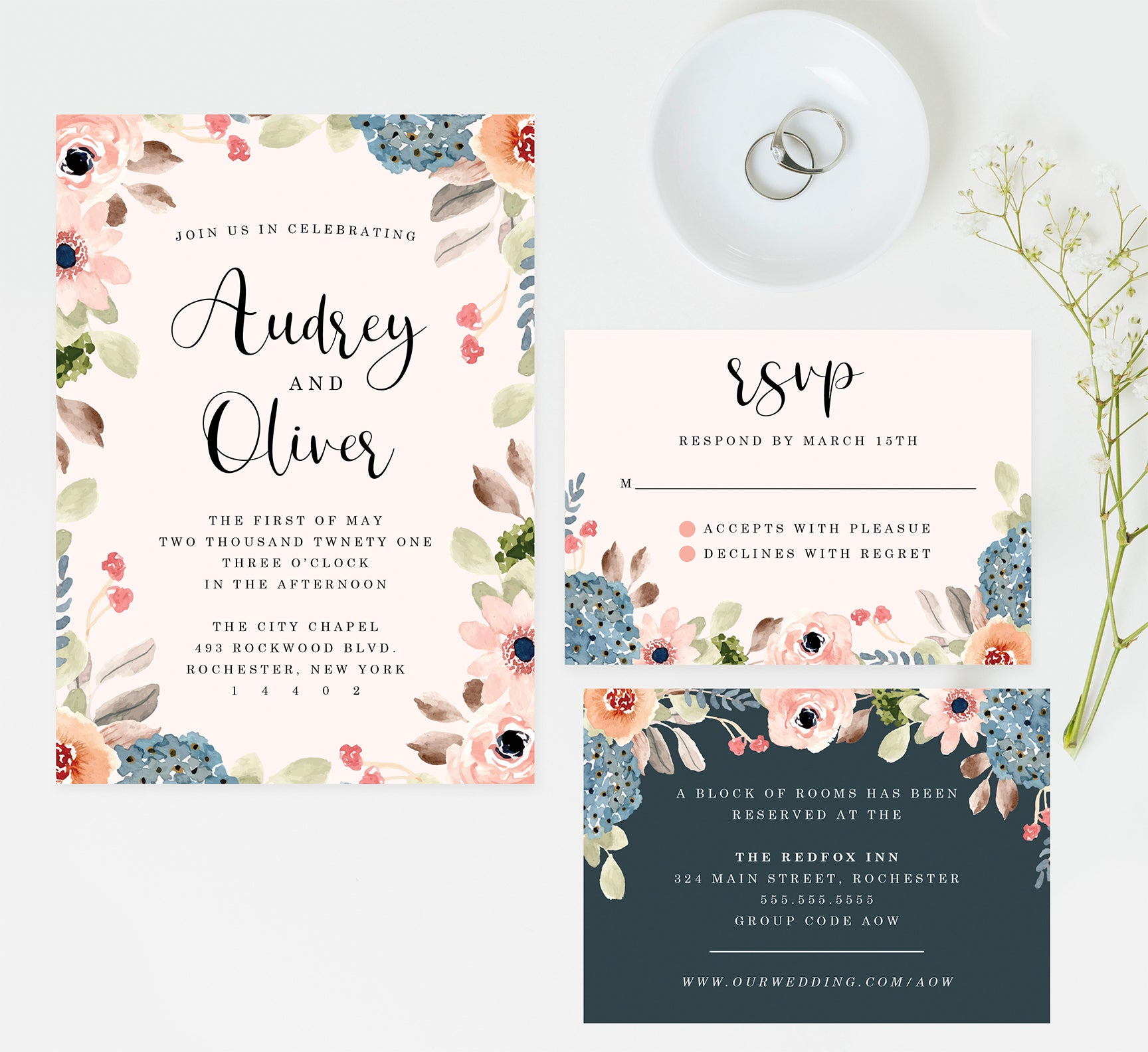 Pink Watercolor Wedding Invitation and Set
