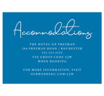Load image into Gallery viewer, Dramatic Blue Wedding Accommodations/Details Card; Royal blue background with white text