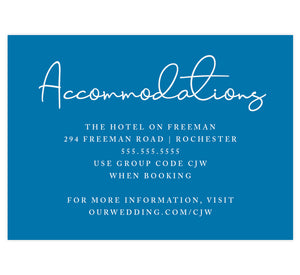 Dramatic Blue Wedding Accommodations/Details Card; Royal blue background with white text