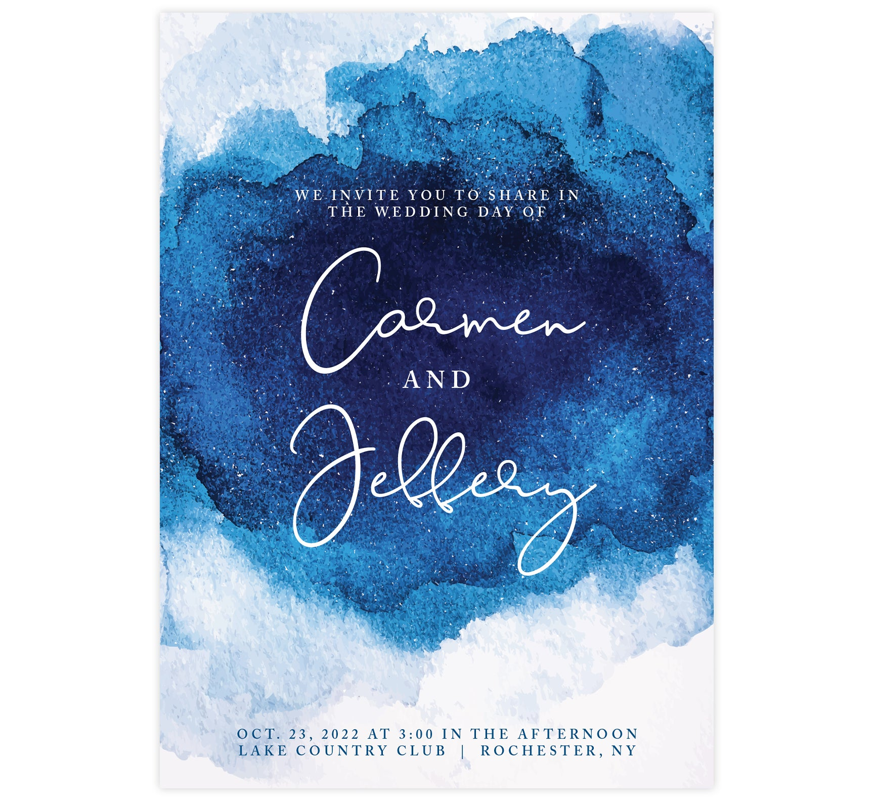 Dramatic Blue Wedding Invitation; White background with deep blue watercolor in the middle, large white text for the names and small details below in blue.