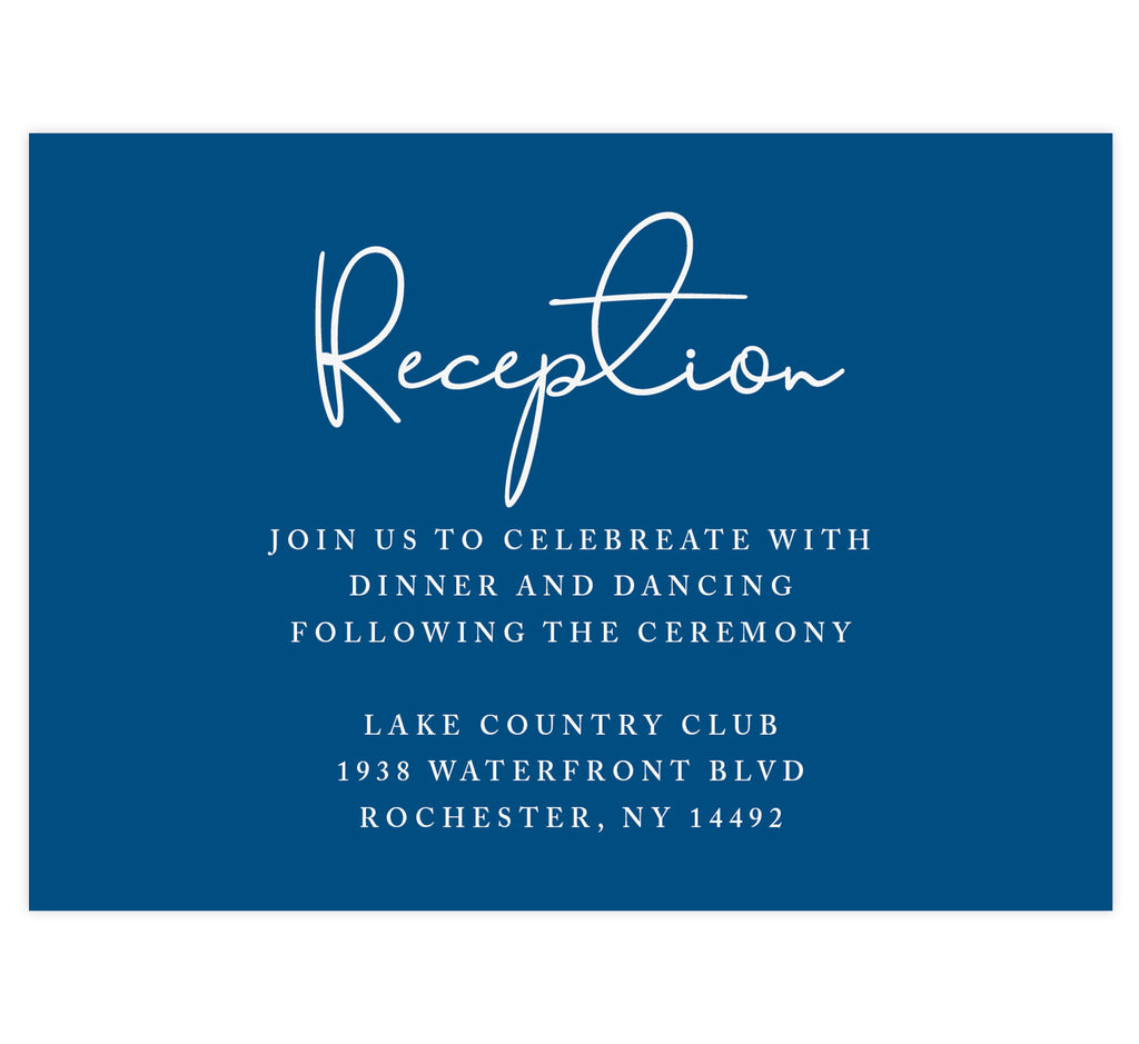 Dramatic Blue Wedding Reception Card; Navy background with white text