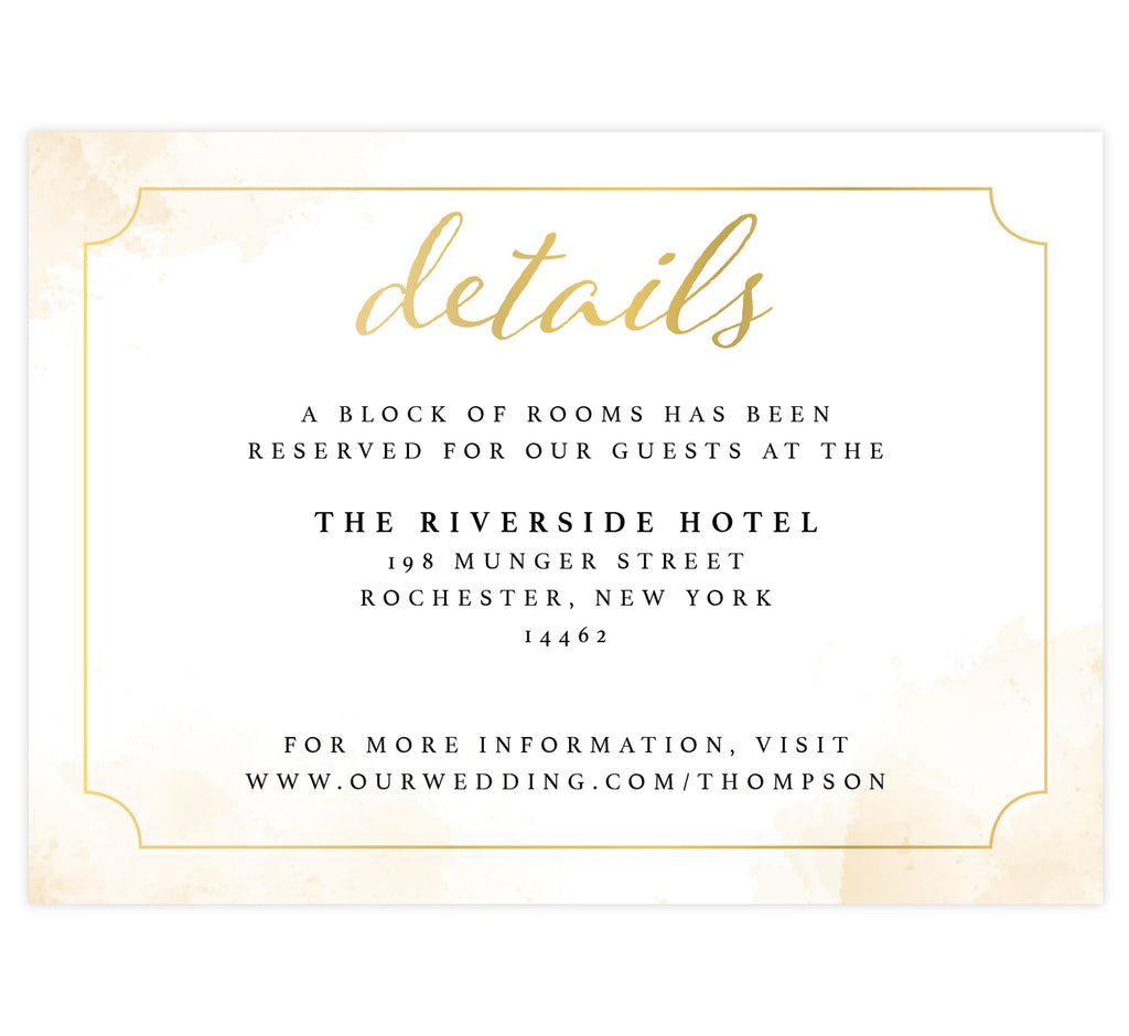 Elegant Skyline wedding detail/accommodation card; white background with gold watercolor splashes on the edges and elegant gold frame with black and gold text