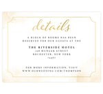 Load image into Gallery viewer, Elegant Skyline wedding detail/accommodation card; white background with gold watercolor splashes on the edges and elegant gold frame with black and gold text