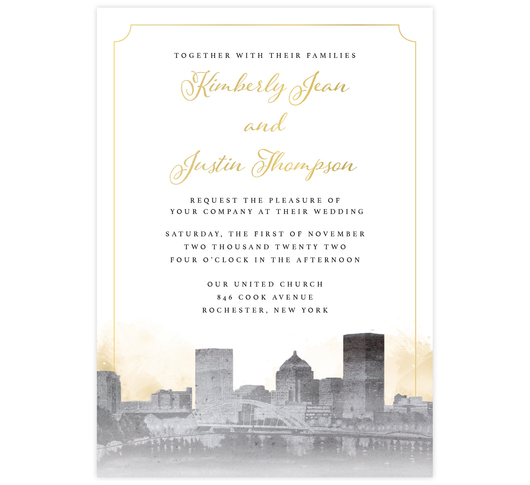 Elegant Skyline wedding invitation; artistic version of the Rochester, NY skyline in grayscale with gold watercolor background and gold elegant frame around the card.