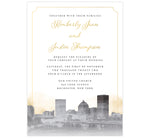 Load image into Gallery viewer, Elegant Skyline wedding invitation; artistic version of the Rochester, NY skyline in grayscale with gold watercolor background and gold elegant frame around the card.