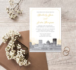 Load image into Gallery viewer, Elegant Skyline wedding invitation mockup
