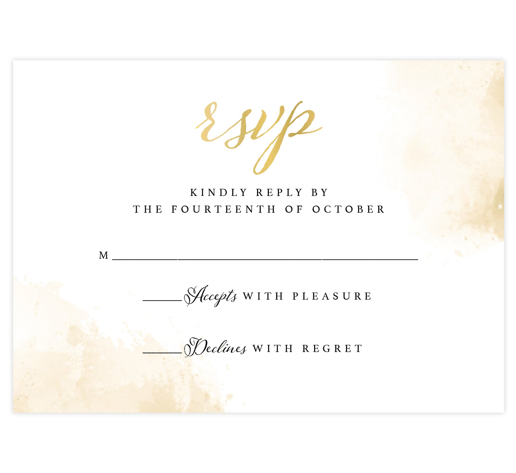Elegant Skyline wedding invitation; white background with gold splashes in the top right and bottom left corners with black and gold text