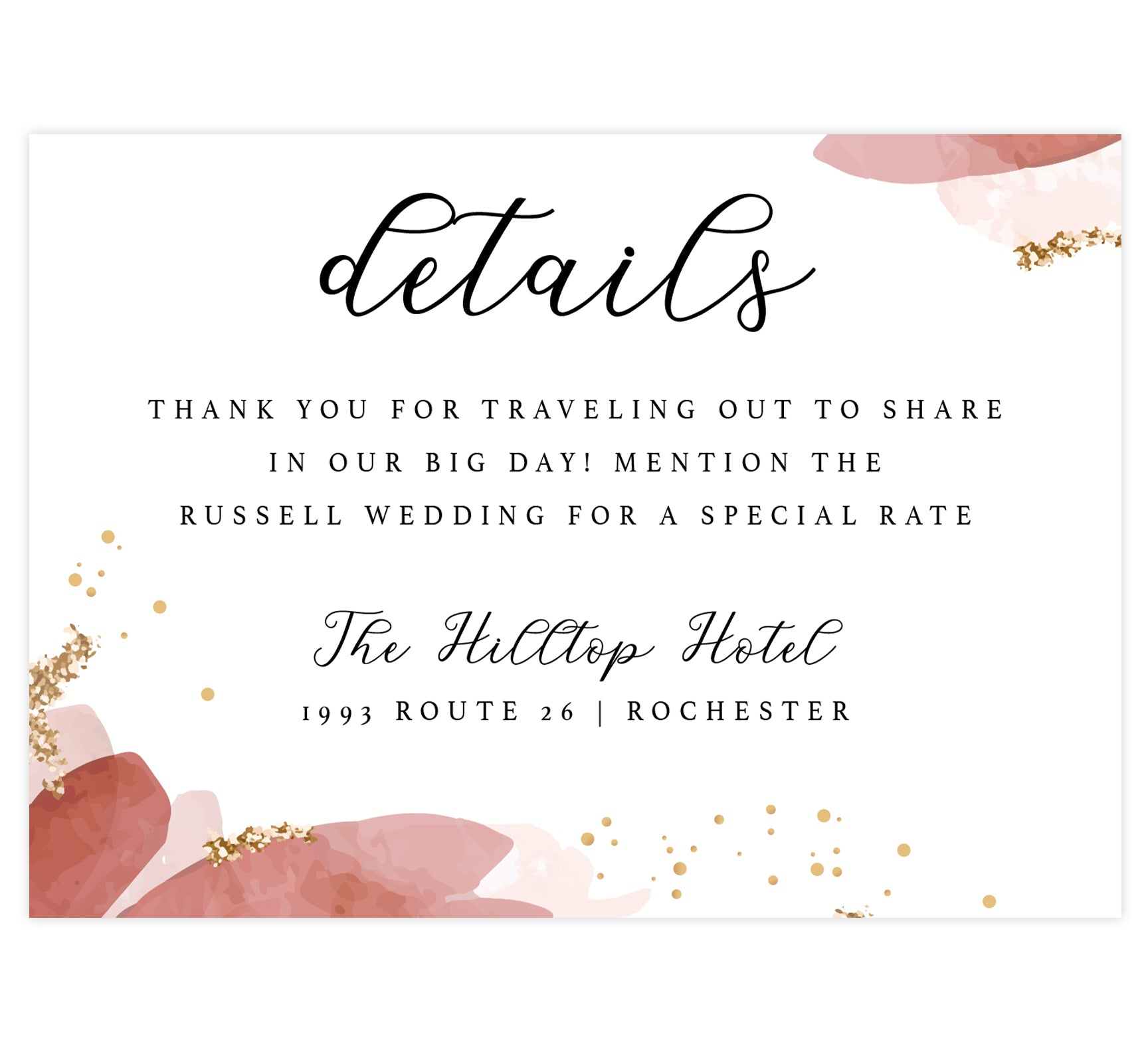 Enchanting Watercolor wedding accommodations/detail card; white background with pink watercolor on the edges, gold dots and glitter with black text