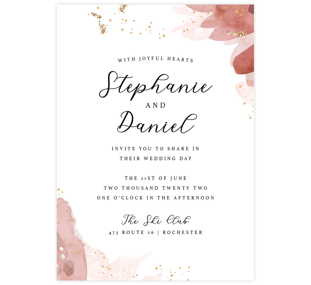 Enchanting Watercolor wedding invitation; white background with pink watercolor on the edges, small gold dots and glitter with black text