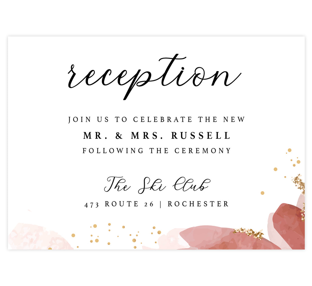 Enchanting Watercolor wedding reception card; white background with watercolor pink and gold dots across the bottom edge and black text