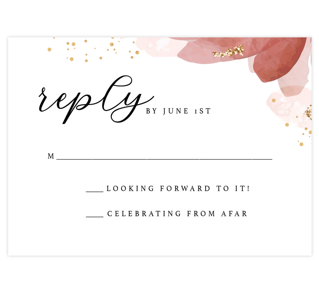 Enchanting Watercolor wedding invitation and set mockup