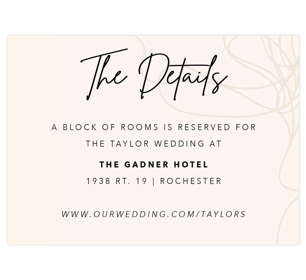 Modern Handwriting wedding accommodations/details card; pale creme background with hand drawn details on the right edge and black text