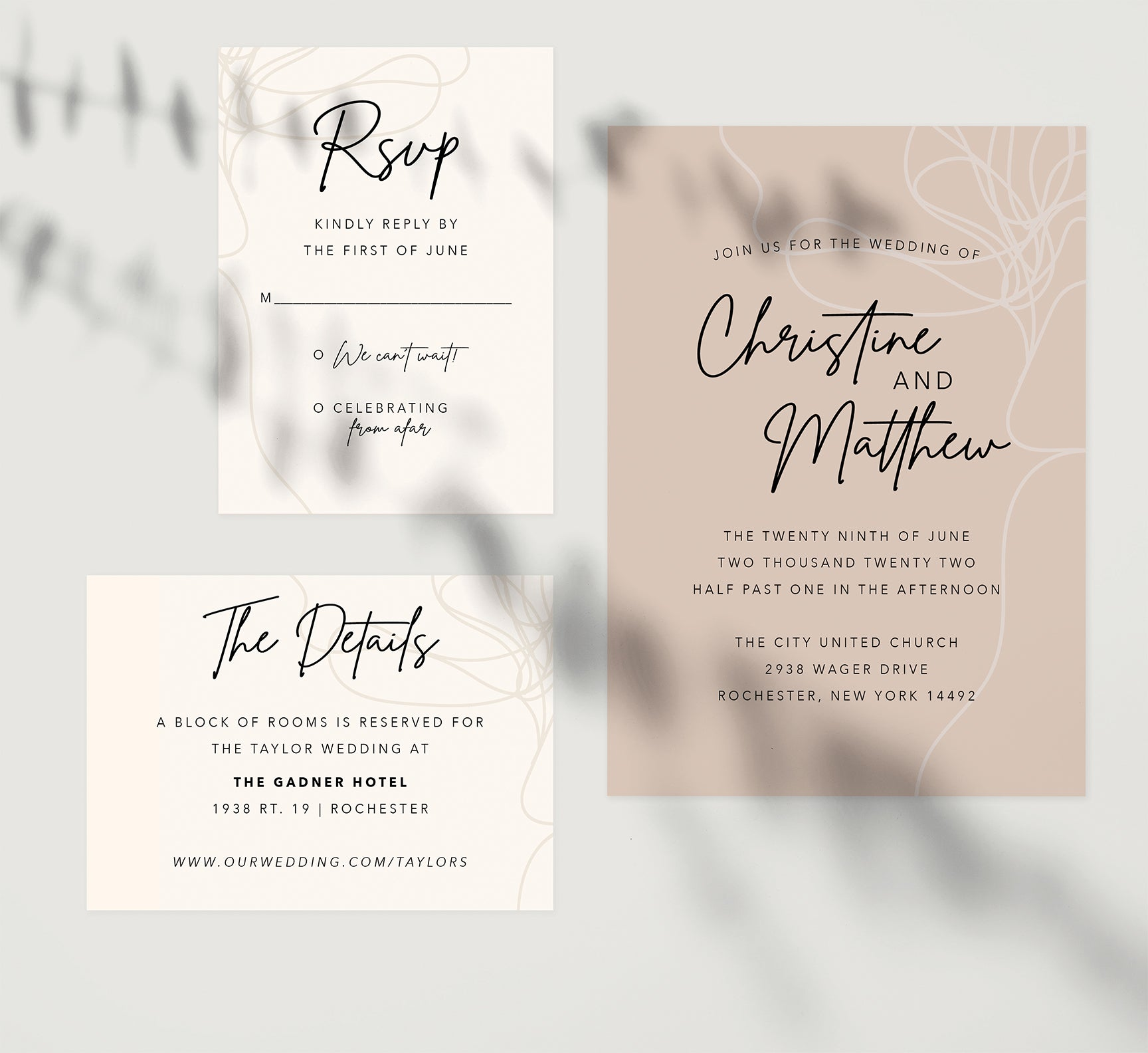 Modern Handwriting wedding invitation and set