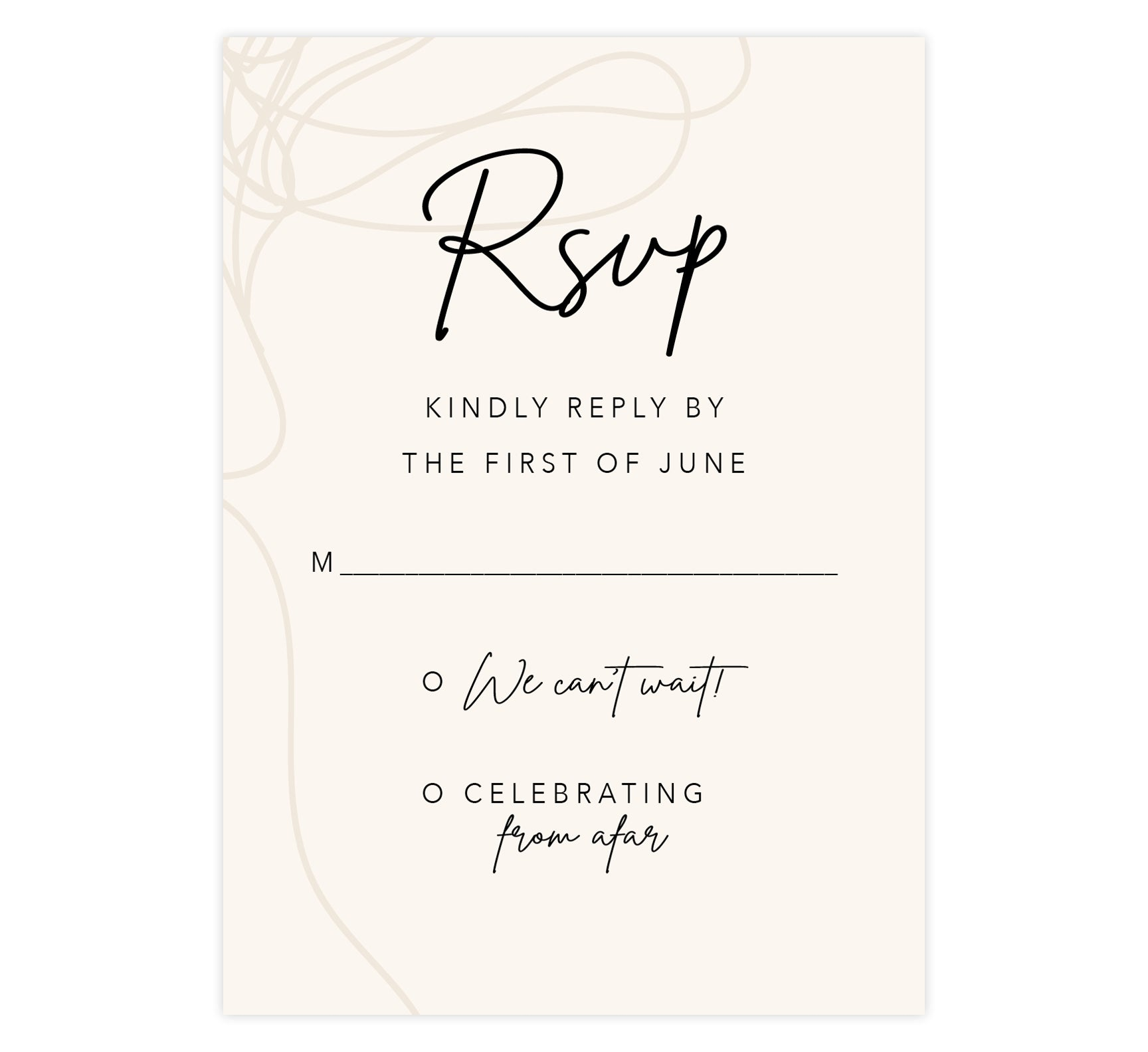 Modern Handwriting wedding response card; creme background with tan drawn design on the left edge and black writing