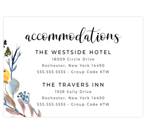 Yellow and Floral wedding accommodations/details card; white background with black text and florals in the bottom left corner