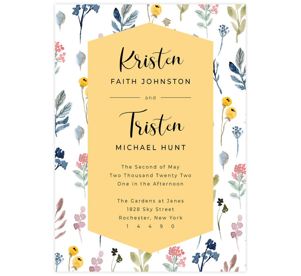 Yellow and Florals wedding invitation; white background with watercolor florals background and yellow behind the text